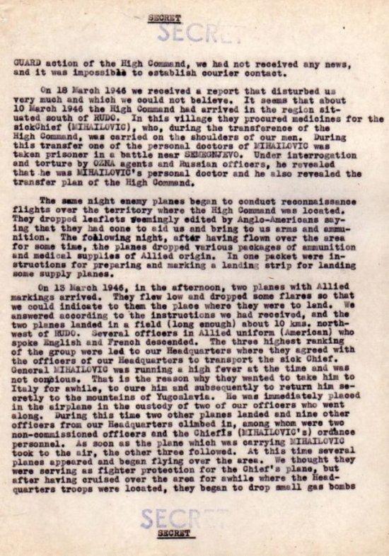 Пронађен документ америчке обавештајне службе о томе како је заробљен Дража